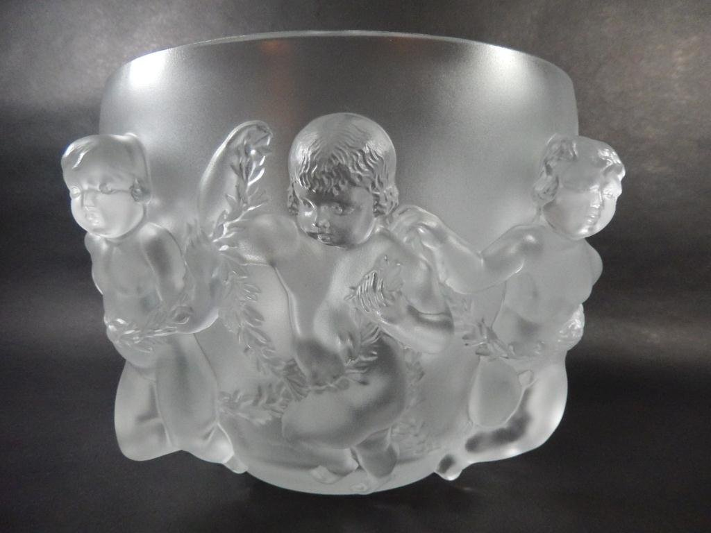 """LALIQUE """"LUXEMBOURG"""" CLEAR CRYSTAL VASE, WITH CAVORTING"""
