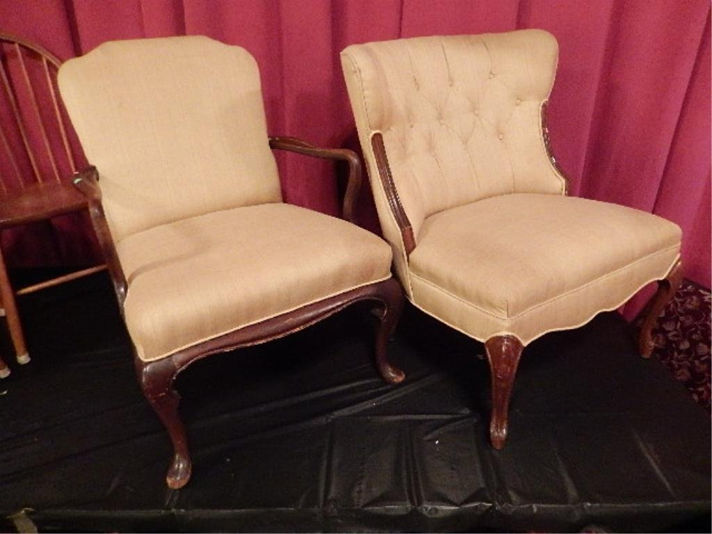 TWO ANTIQUE CHAIRS, MAHOGANY WITH BEIGE UPHOLSTERY, ONE