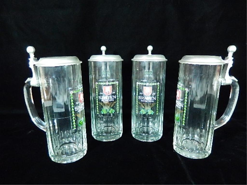 4 SPATEN MUNCHEN BEER STEINS, CLEAR GLASS,  APPROX