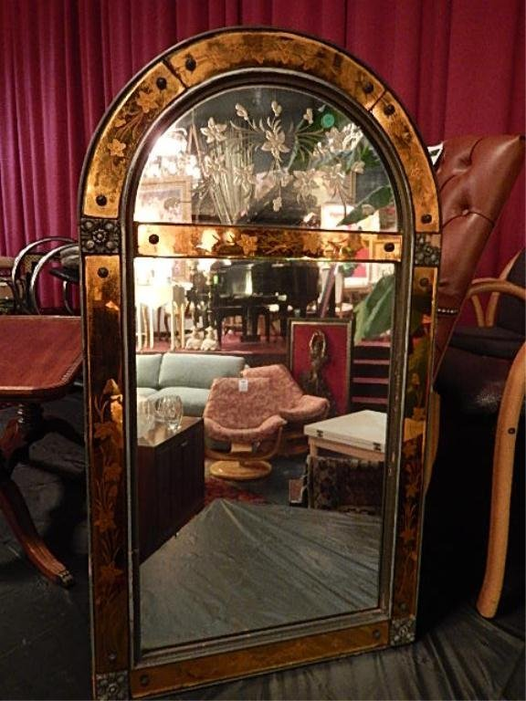 VENETIAN STYLE MIRROR, GOLD AND CLEAR MIRRORED GLASS