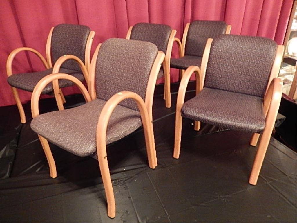 SET OF 5 PETER DANKO ARMCHAIRS, LAMINATED BENTWOOD