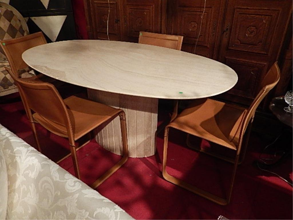 OVAL TRAVERTINE DINING TABLE WITH 4 MATTEO GRASSI