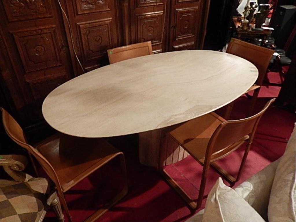 OVAL TRAVERTINE DINING TABLE WITH 4 MATTEO GRASSI - 5