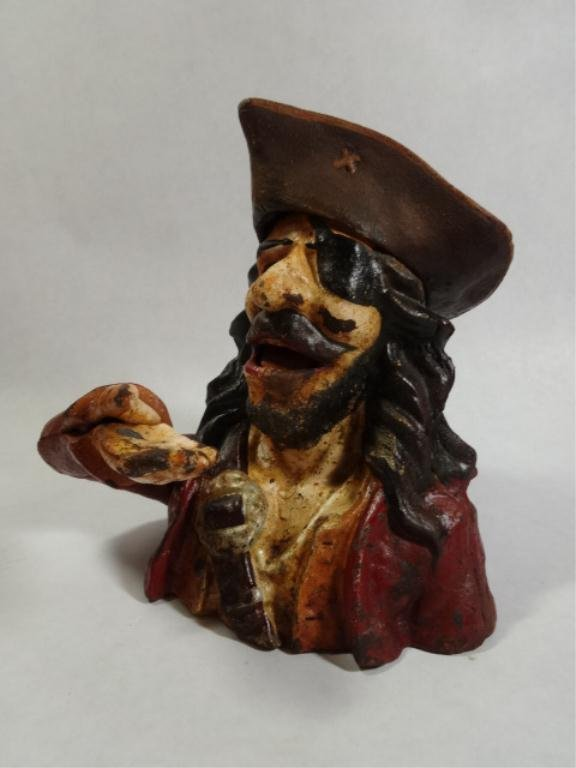 "PAINTED CAST IRON PIRATE BANK, APPROX 7.25""H"