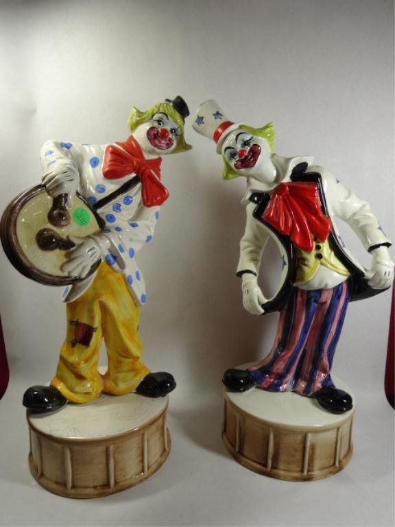 "2 LARGE CAPODIMONTE CLOWNS, SOLD TOGETHER, APPROX 17""H,"