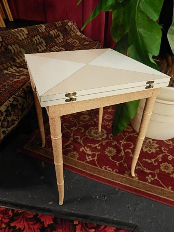 CARD TABLE WITH FLIP TOP, WOOD LEGS, LAMINATE TOP,