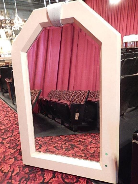 LARGE WHITE LACQUERED MIRROR, APPROX 4' X3'