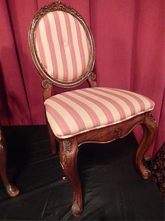 FRENCH STYLE OVAL BACK PARLOR CHAIR, STRIPED