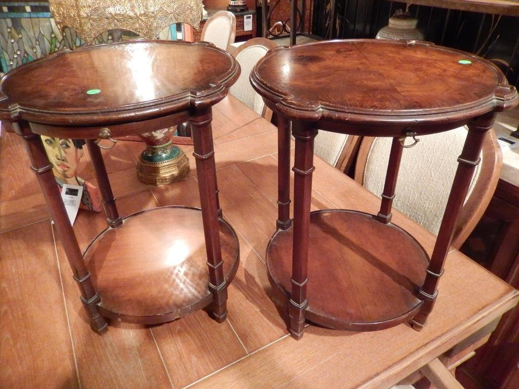 PAIR ANTIQUE MAHOGANY TABLES, 2 TIER WITH SLIDE OUT