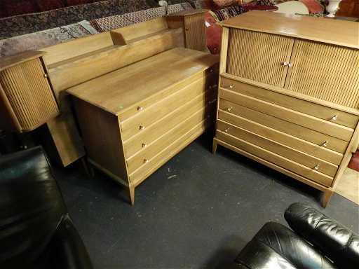 Heywood Wakefield 4 Pc Bedroom Set Sable Finish Mid