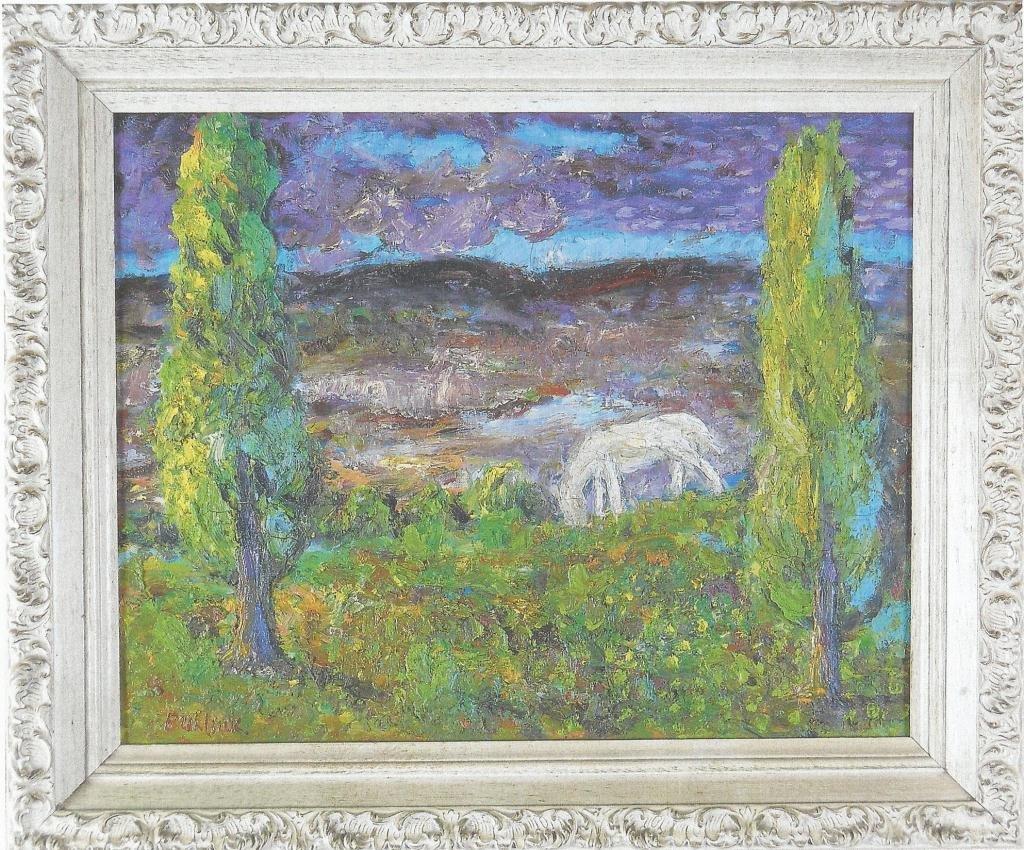 DAVID BURLIUK OIL ON CANVAS, WHITE HORSE, SIGNED LOWER
