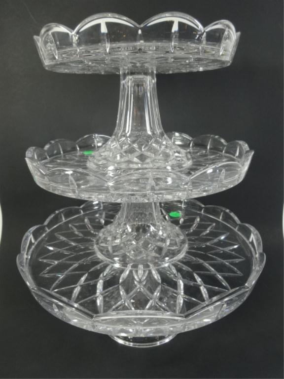 3 PC 24% LEAD CRYSTAL CAKE PLATES, MADE IN