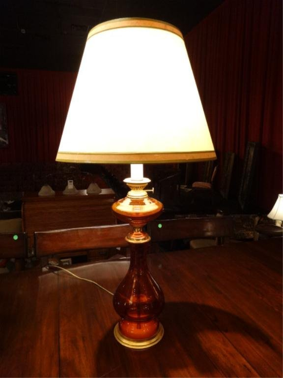 """AMBER GLASS AND BRASS TABLE LAMP, APPROX 25""""H"""