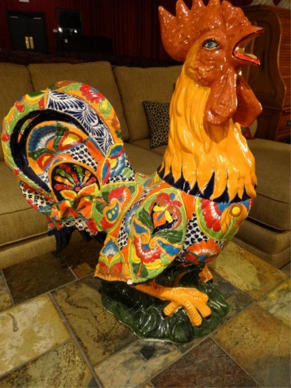 LARGE CERAMIC PAINTED ROOSTER, VERY GOOD CONDITION, ONE