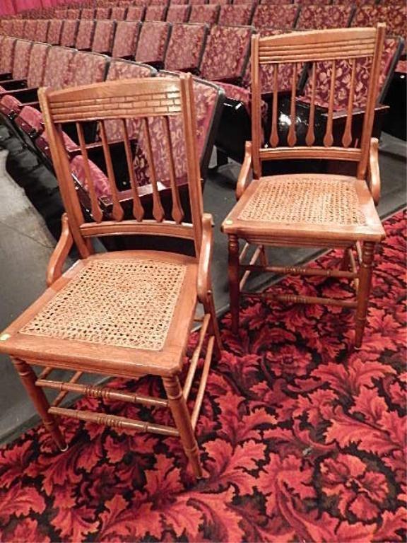 PAIR OAK CHAIRS, CANE SEATS (SKU#855.08)