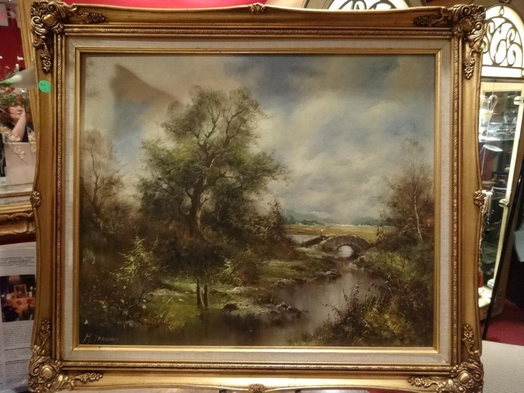M. TORRENS OIL PAINTING ON CANVAS, LANDSCAPE, SIGNED, A