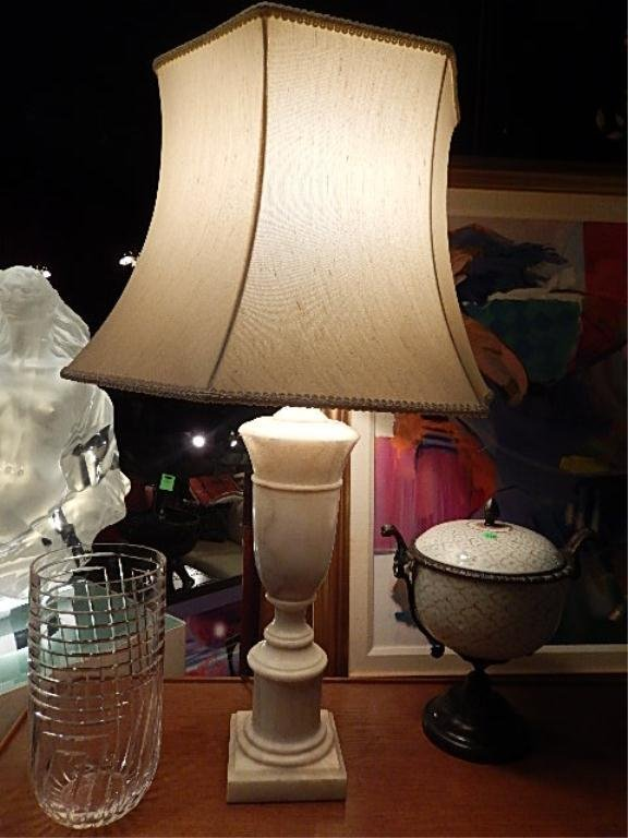 WHITE MARBLE TABLE LAMP, MADE IN ITALY LABEL, URN SHAPE