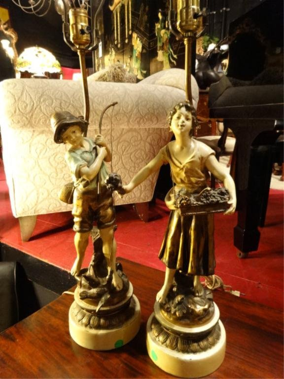 """PAIR FIGURAL LAMPS, BOY AND GIRL, APPROX 25""""H"""