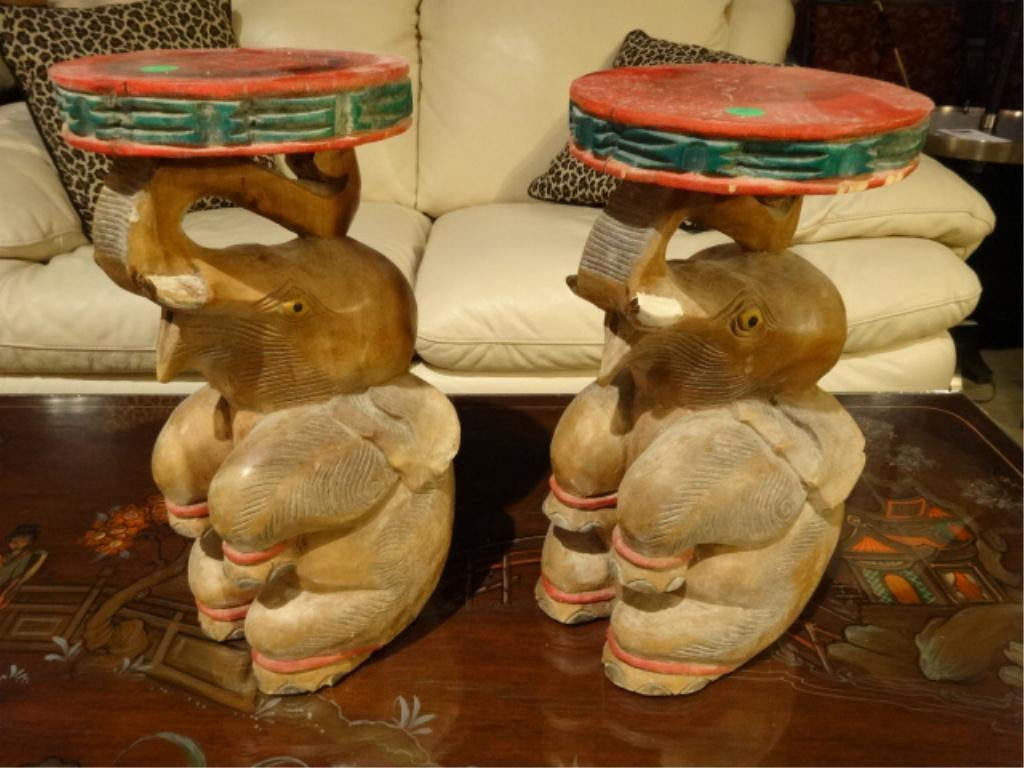 PAIR INDONESIAN CARVED WOOD ELEPHANT PEDESTALS, APPROX