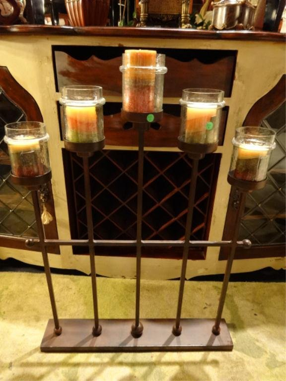 METAL AND GLASS FLOOR CANDLE HOLDER, 5 LIGHTS, COPPER