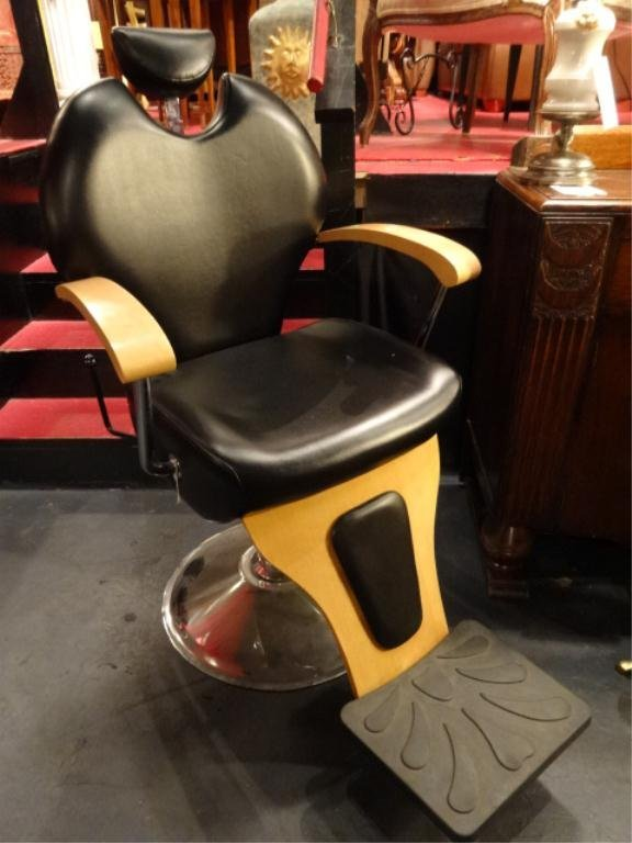 LEATHER BARBER/SALON CHAIR, BLACK LEATHER UPHOLSTERY,