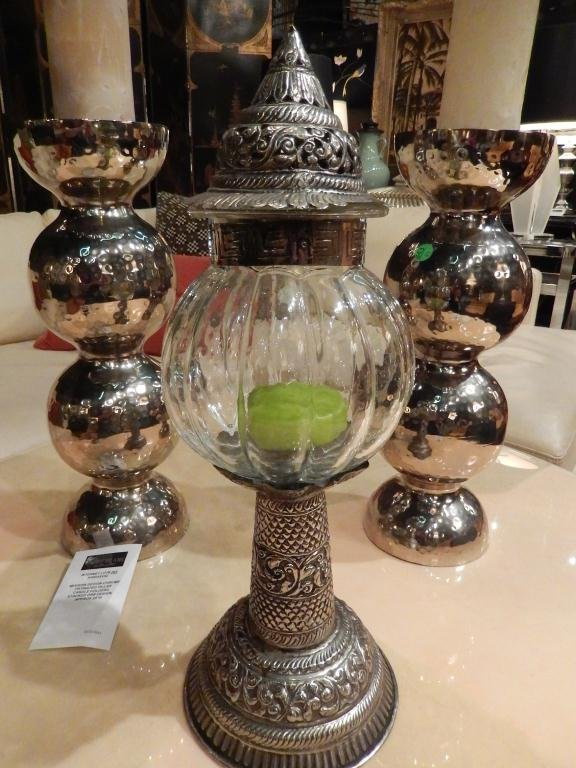 MOROCCAN STYLE METAL AND GLASS CANDLE HOLDER, APPROX