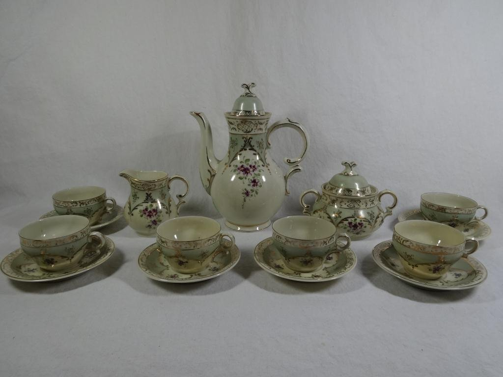 15 PC ANTIQUE COFFEE SET, INCLUDES COFFEE POT  APPROX