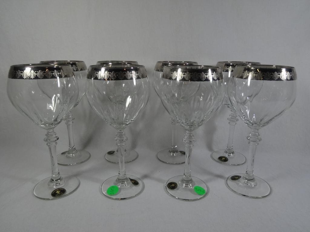 8 ITALIAN CRYSTAL WINE GLASSES WITH ELABORATE  SILVER
