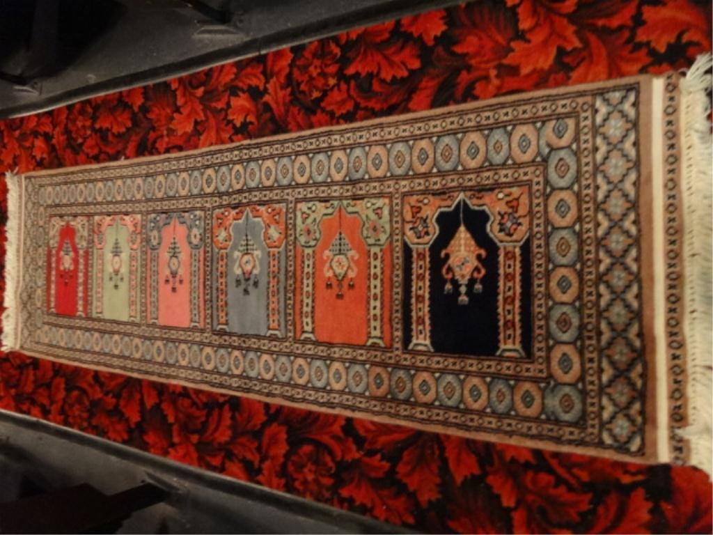 BOKHARA STYLE RUG RUNNER, PAKISTAN, COLORED PANELS WITH