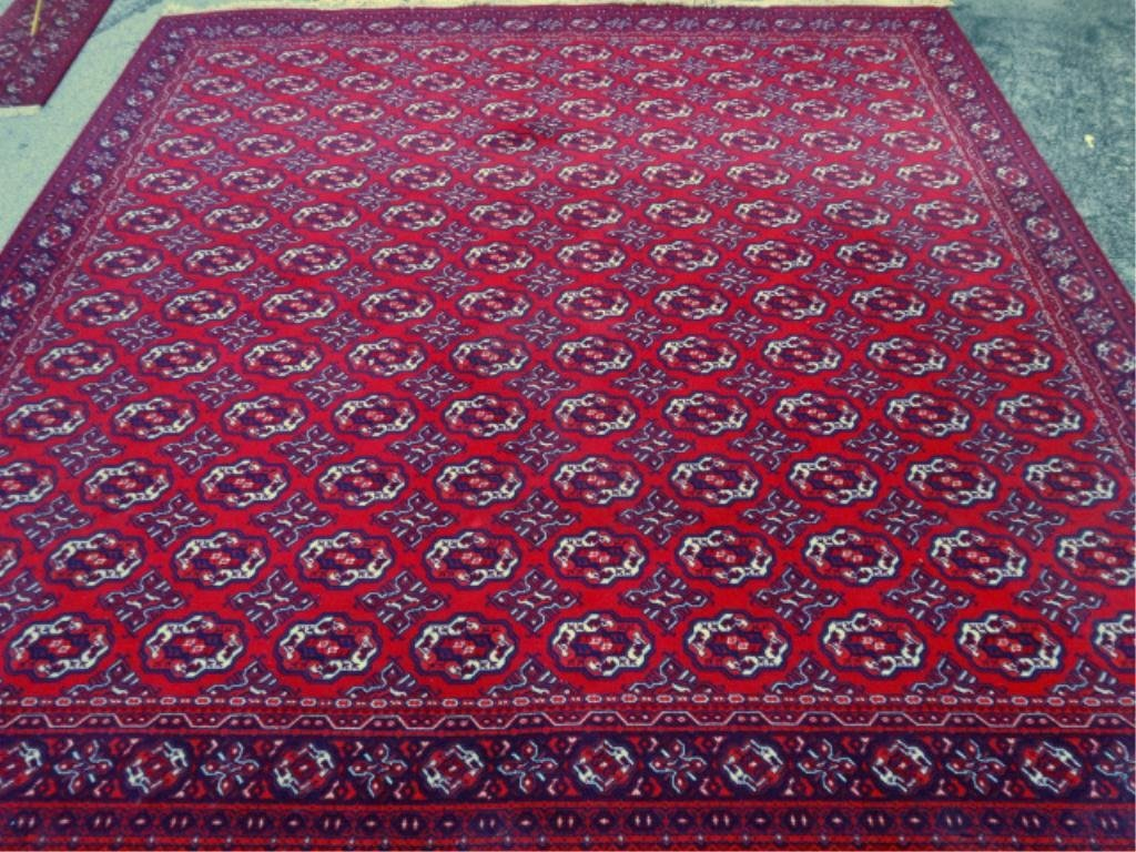 LARGE ROYAL ASHAN VIRGIN WOOL RUG, RED. BLUE, AND
