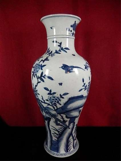 ANTIQUE CHINESE BLUE & WHITE VASE, BIRD &  FLOWER