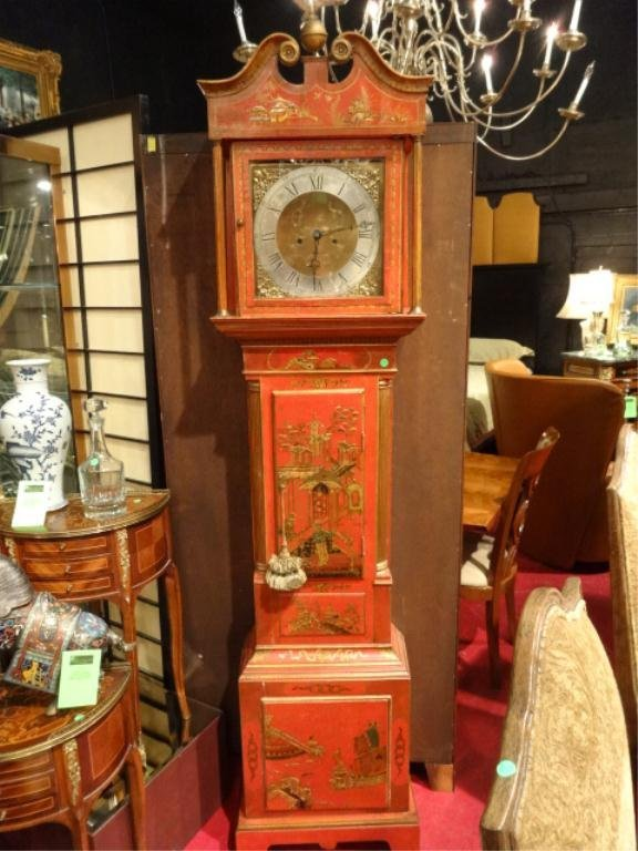 EARLY 19TH C. CHINOISERIE LONGCASE CLOCK, DIAL AND