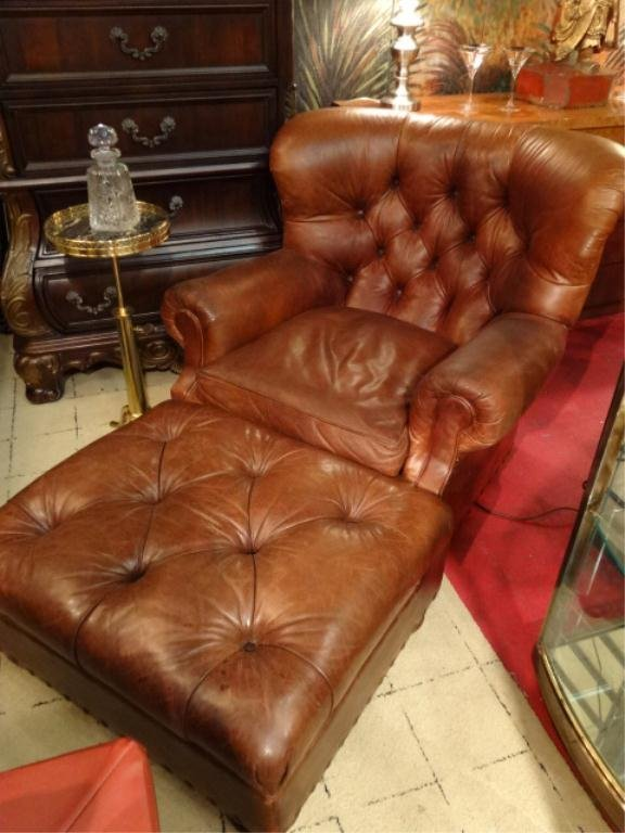 RALPH LAUREN LEATHER LIBRARY CHAIR AND OTTOMAN FOR