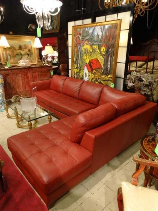 Natuzzi Red Leather Sectional Sofa 2 Pc Right Hand