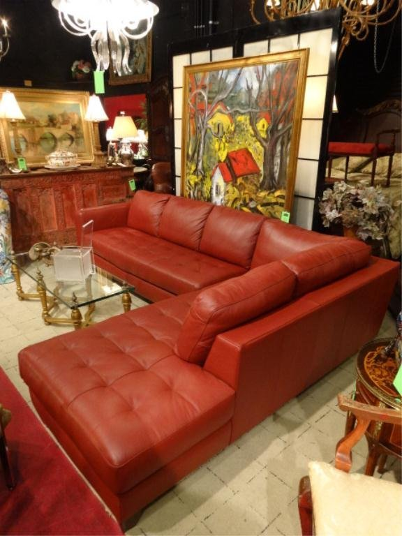 NATUZZI RED LEATHER SECTIONAL SOFA, 2 PC, RIGHT HAND