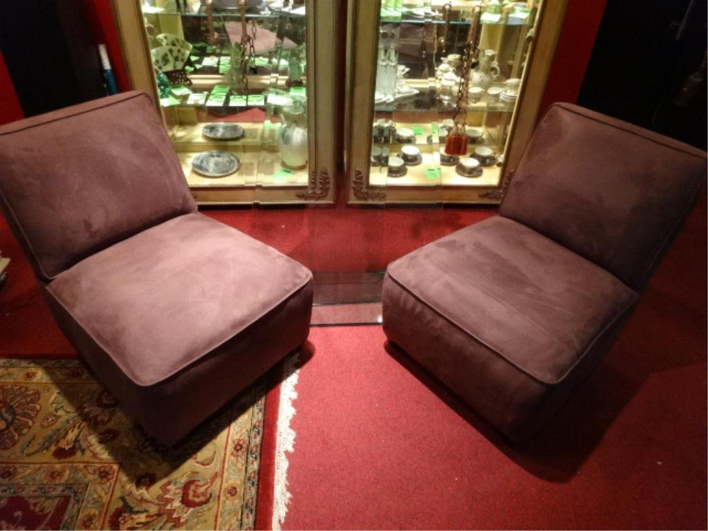 PAIR CRATE & BARREL SLIPPER CHAIRS, PLUM UPHOLSTERY,