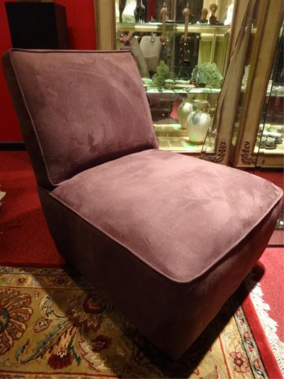 PAIR CRATE & BARREL SLIPPER CHAIRS, PLUM UPHOLSTERY, - 2