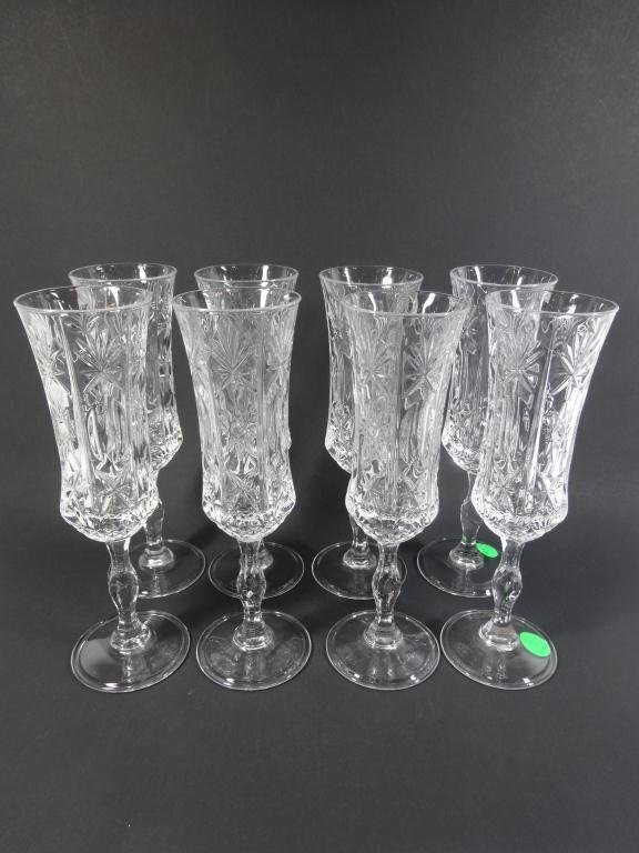 """8 ITALIAN RCR CRYSTAL CHAMPAGNE FLUTES,  APPROX 8.5""""H"""