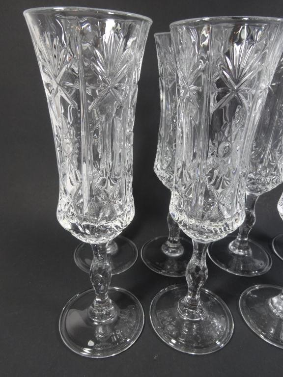 """8 ITALIAN RCR CRYSTAL CHAMPAGNE FLUTES,  APPROX 8.5""""H - 2"""