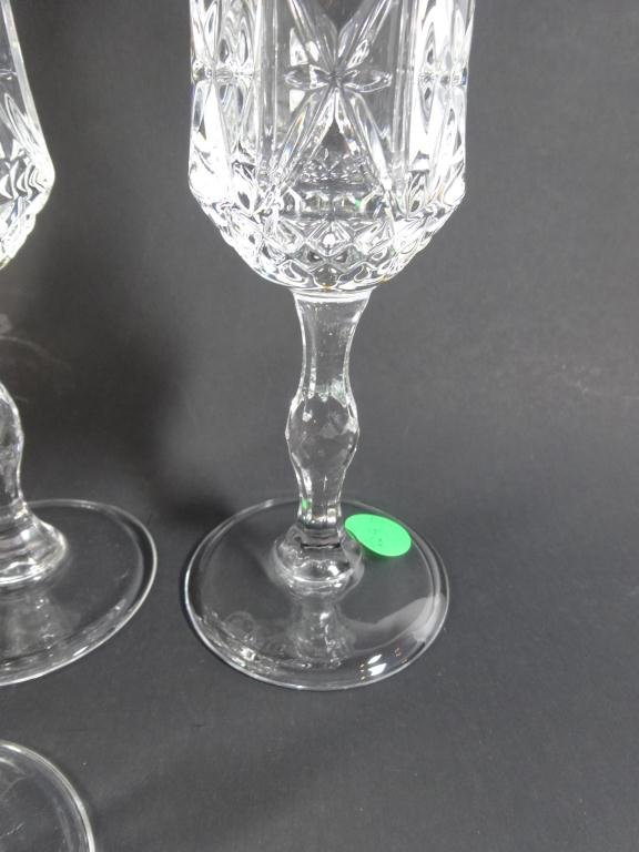 """8 ITALIAN RCR CRYSTAL CHAMPAGNE FLUTES,  APPROX 8.5""""H - 4"""