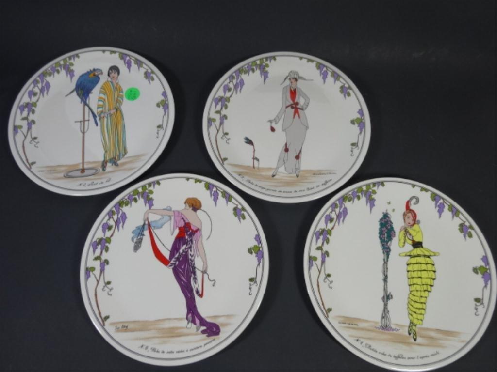 4 VILLEROY & BOCK PORCELAIN PLATES, ART DECO WOMEN,