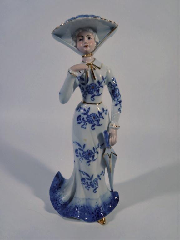 KPM GERMAN PORCELAIN FIGURE, LADY WITH PARASOL, BLUE