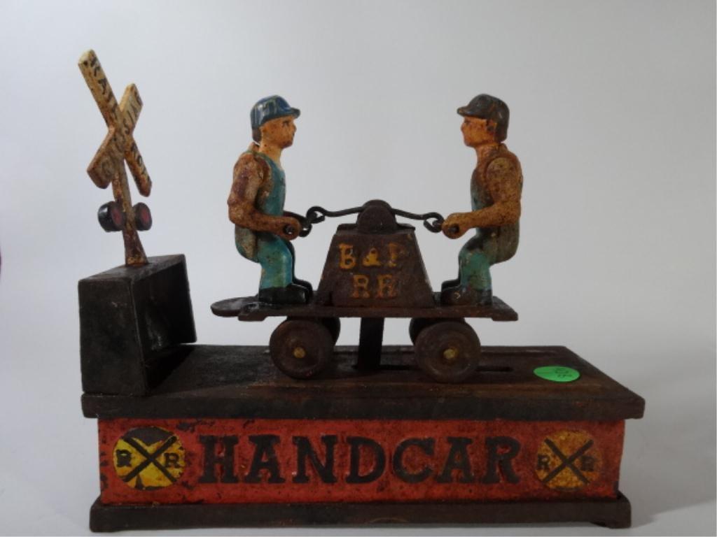 "CAST IRON BANK, RAILROAD HANDCAR, PAINTED, 8.5"" X 7"""
