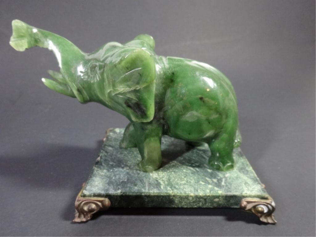 """CARVED JADE ELEPHANT, MARBLE BASE, 5""""H X 3.5""""W (SKU#"""