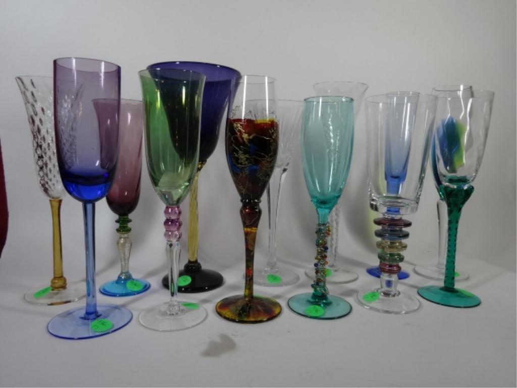13 PC ASSEMBLED ART GLASS CHAMPAGNE FLUTES