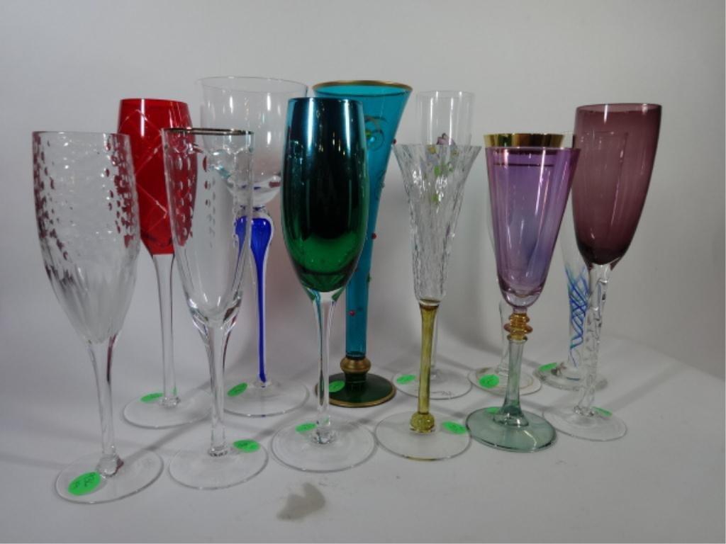 12 PC ASSEMBLED ART GLASS CHAMPAGNE FLUTES