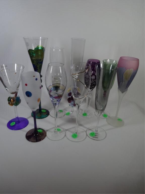 11 PC ASSEMBLED ART GLASS CHAMPAGNE FLUTES