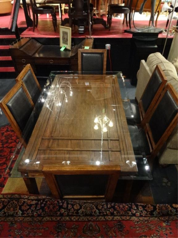 ARTS AND CRAFTS STYLE DINING TABLE WITH GLASS TOP, 6