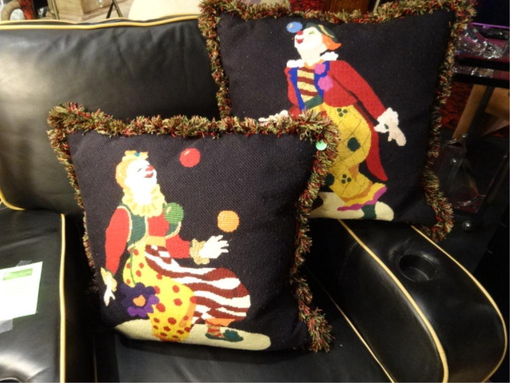"""PAIR LARGE EMBROIDERED CLOWN ACCENT PILLOWS, APPROX 19"""""""