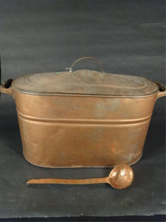 COPPER COLOR OVAL TUB WITH LID & COPPER LADLE, APPROX